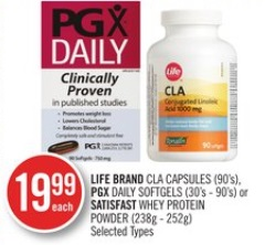 LIFE BRAND CLA CAPSULES (90's),PGX DAILY SOFTGELS (30's - 90's) or SATISFAST WHEY PROTEIN POWDER (238g - 252g)