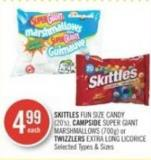 Skittles Fun Size Candy (20's) - Campside Super Giant Marshmallows (700g) or Twizzlers Extra Long Licorice