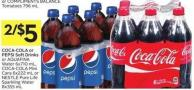 Pepsi Soft Drinks or Aquafina Water 6x710 mL - Coca-cola Mini Cans 6x222 mL or Nestlé Pure Life Sparkling Water 8x355 mL