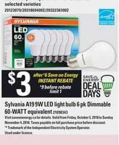 Sylvania A19 9w Led Light Bulb 6 Pk Dimmable 60-watt Equivalent