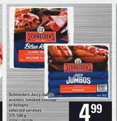 Schneiders Juicy Jumbo Wieners Smoked Sausage Or Bologna - 375-500 G