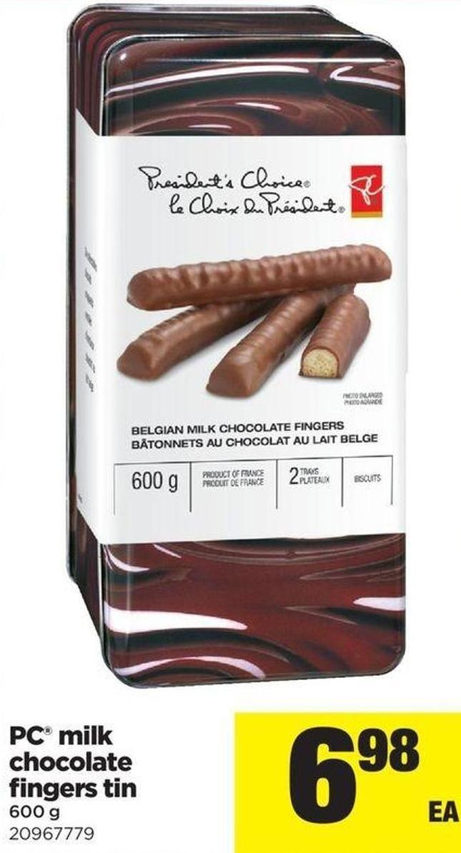 PC Milk Chocolate Fingers Tin - 600 g
