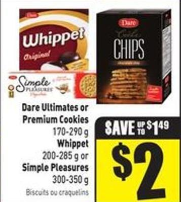 Dare Ultimates or Premium Cookies 170-290 g Whippet 200-285 g or Simple Pleasures 300-350 g