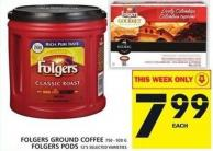 Folgers Ground Coffee Or Folgers PODS