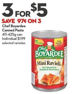 Chef Boyardee Canned Pasta 411-425g Can