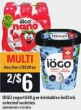 IOGO Yogurt 650 G Or Drinkables 6x93 Ml