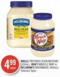 Maille Prepared Dijon Mustard (500ml) - Kraft Miracle Whip or Hellmann's Mayonnaise (890ml)