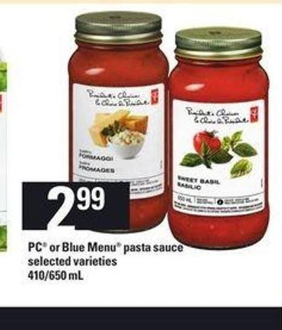 PC Or Blue Menu Pasta Sauce - 410/650 mL