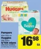 Pampers - 504-720's Or Huggies - 336-704's Or 9/10x - Wipes