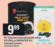 PC Gourmet Roast And Ground Coffee - 875/930 G Or Davidstea - 15's
