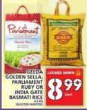 Gelda Golden Sella - Parliament Ruby Or India Gate Basmati Rice