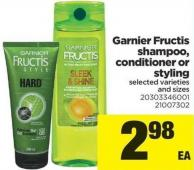Garnier Fructis Shampoo - Conditioner Or Styling
