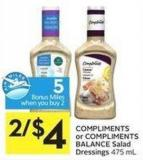 Compliments or Compliments Balance Salad Dressings 475 mL - 5 Air Miles Bonus Miles