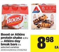 Boost Or Atkins Protein Shake - 4/6's Or Atkins Day Break Bars - 5's