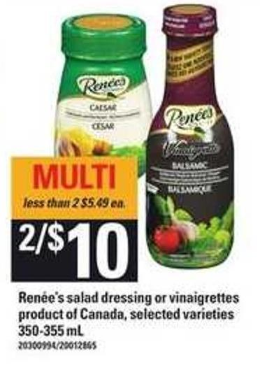 Renée's Salad Dressing Or Vinaigrettes - 350/355 mL