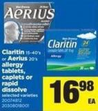 Claritin 15-40's Or Aerius 20's Allergy Tablets - Caplets Or Rapid Dissolve