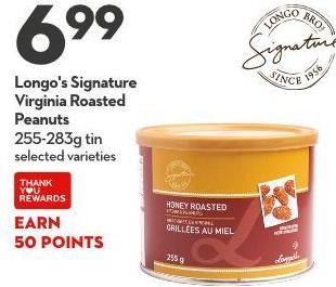 Longo's Signature Virginia Roasted Peanuts 255-283g Tin