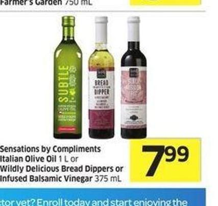 Sensations By Compliments Italian Olive Oil 1 L or Wildly Delicious Bread Dippers or