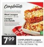 Compliments Lasagna Meat - Vegetable or Chicken or Mac & Cheese 1 Kg