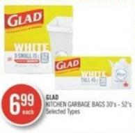 Glad Kitchen Garbage Bags 30's - 52's