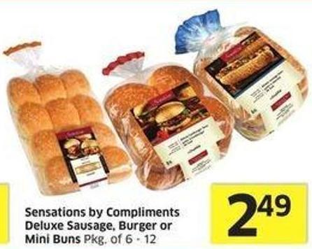 Sensations By Compliments Deluxe Sausage - Burger or Mini Buns Pkg of 6 - 12