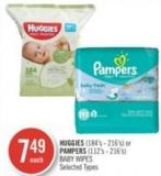 Huggies (184's - 216's) or Pampers (112's - 216's) Baby Wipes