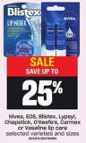 Nivea - Eos - Blistex - Lypsyl - Chapstick - O'keefe's - Carmex Selected Varieties And Sizes Or Vaseline Lip Care
