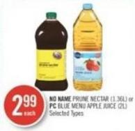 No Name Prune Nectar (1.36l) or PC Blue Menu Apple Juice (2l)