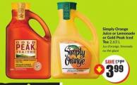 Simply Orange Juice or Lemonade or Gold Peak Iced Tea