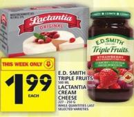 E.d. Smith Triple Fruits Or Lactantia Cream Cheese