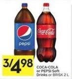 Coca-cola or Pepsi Soft Drinks or Brisk 2 L
