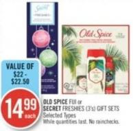 Old Spice Fiji or Secret Freshies (3's) Gift Sets
