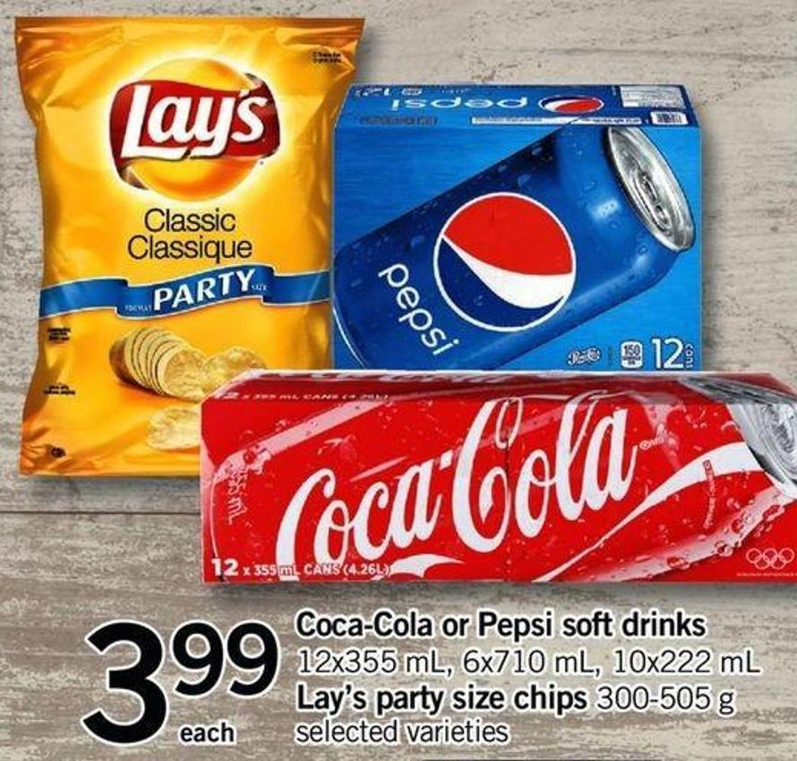 Coca-cola Or Pepsi Soft Drinks - 12x355 Ml - 6x710ml - 10x222 Ml - Lay's Party Size Chips - 300-505 G