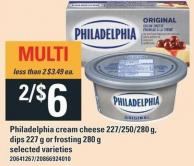 Philadelphia Cream Cheese - 227/250/280 g - Dips. 227 g Or Frosting - 280 g