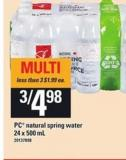 PC Natural Spring Water - 24 X 500 mL