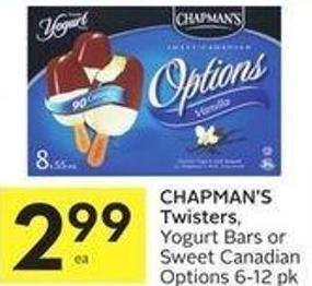 Chapman's Twisters.yogurt Bars or Sweet Canadian Options 6-12 Pk