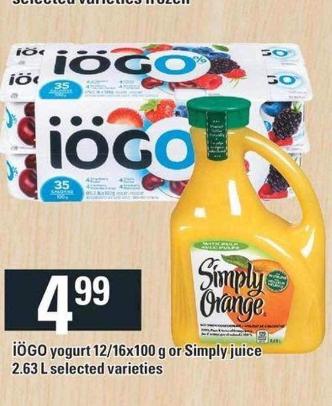 Iögo Yogurt 12/16x100 G Or Simply Juice 2.63 L