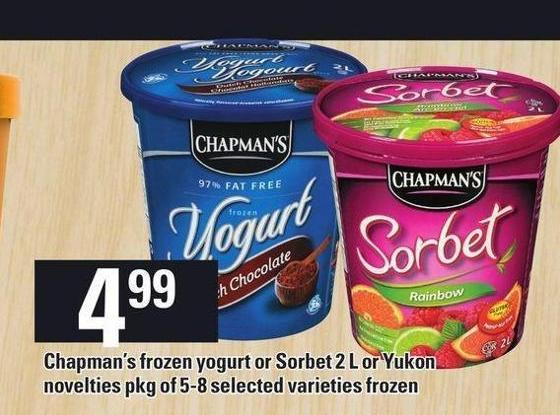 Chapman's Frozen Yogurt Or Sorbet 2 L Or Yukon Novelties Pkg Of 5-8