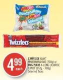 Campside Giant Marshmallows (700g) or Twizzlers X-long Licorice Candy (652g - 708g)