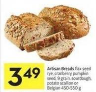 Artisan Breads Flax Seed Rye - Cranberry Pumpkin Seed - 9 Grain - Sourdough - Potato Scallion or Belgian 450-550 g