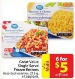 Great Value Single Serve Frozen Entrees