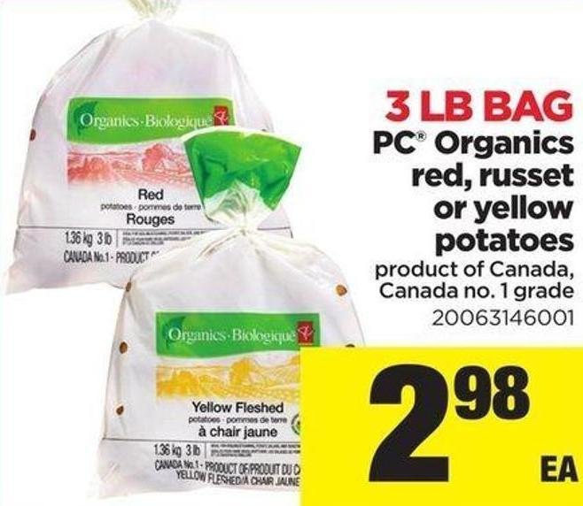 PC Organics Red - Russet Or Yellow Potatoes - 3 Lb Bag