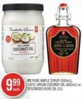 PC Pure Maple Syrup (500ml) - 100% Virgin Coconut Oil (860ml) or Splendido Olive Oil (1l)