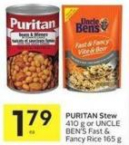 Puritan Stew 410 g or Uncle Ben's Fast & Fancy Rice 165 g