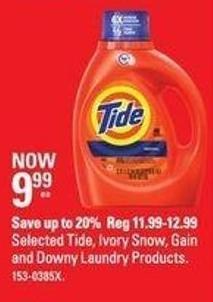 Selected Tide - Ivory Snow - Gain and Downy Laundry Products