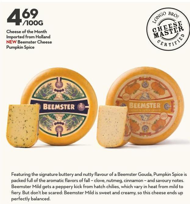 Cheese of The Month Imported From Holland New Beemster Cheese Pumpkin Spice
