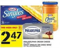 Philadelphia Cream Cheese Or Kraft Singles Or Cheez Whiz