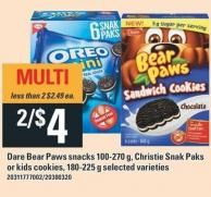 Dare Bear Paws Snacks 100-270 G - Christie Snak Paks Or Kids Cookies - 180-225g
