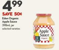 Eden Organic Apple Sauce 398ml Jar
