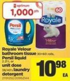 Royale Velour Bathroom Tissue - 30=60 Rolls - Persil Liquid - 2.21 L Or Unit Dose - 38/40's Laundry Detergent